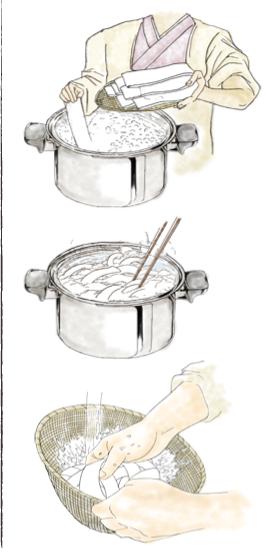 鬼ひも川の美味しい茹で方をイラストで説明